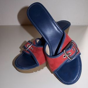 Coach Terry Wedges Blue Red Sandals 7